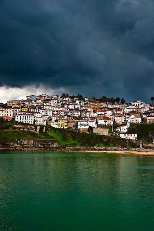 Vista del pueblo marinero de Lastres desde el mar. Asturias, Spain