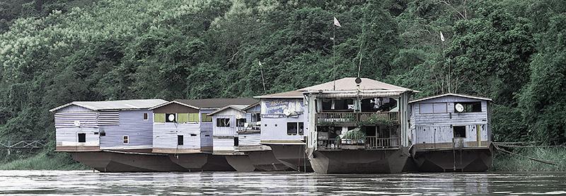 Barcazas vivienda, El río Mekong, Laos